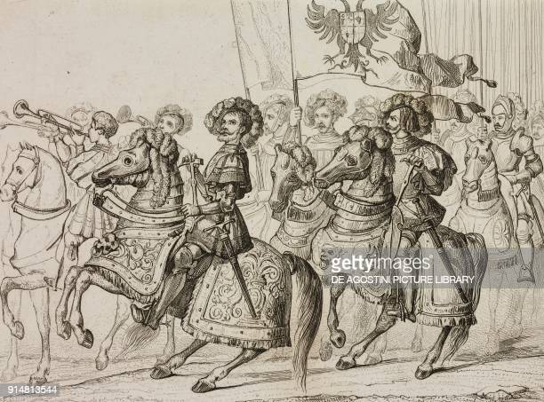 Troops of Germany and Spain during the entry of Charles V in Bologna for the coronation Italy engraving by Lemaitre Vernier and Chaillot from...