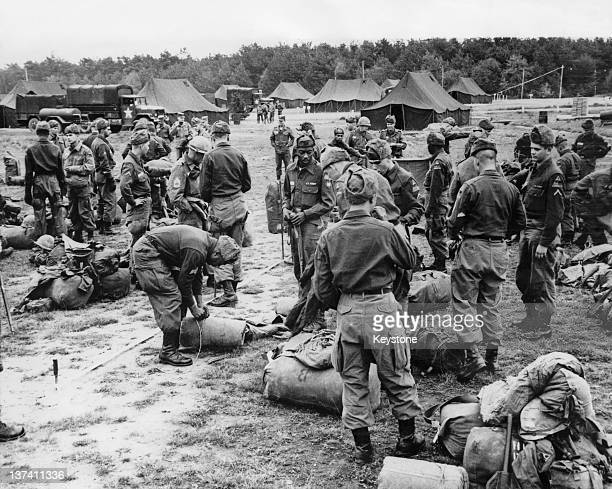 US troops of the 2nd Armored Division at camp in Landstuhl West Germany during a field exercise 25th October 1963