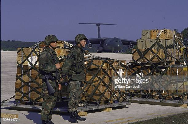 Troops of the 2nd Marine Division Light Armored Infantry unit from Camp Lejeune at Cherry Point Marine Corps Air Station preparing prior to being air...