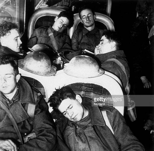 Troops aboard a train having returned from Dunkirk as part of the British Expeditionary Force