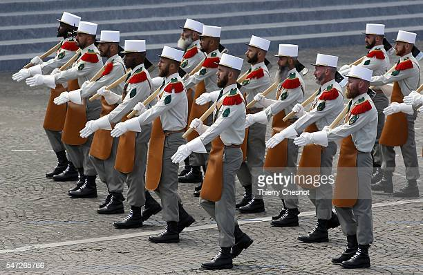 Troops of the French Foreign Legion take part in the annual Bastille Day military parade on the Place de la Concorde on July 14 2016 in Paris France...