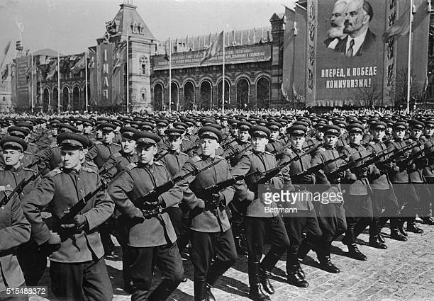 Troops of the Moscow Carrison parade through Red Square during the annual May Day celebration Amid persistant reports of a planned further reduction...