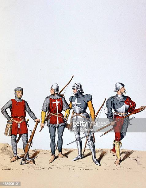 Troops of the Royal Guard 12th16th century A 12th or 13th century arbalétrier 14th and 15th century archers and a 16th century pikeman A print from...