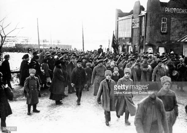 Troops of the Russian Red Army entering the city of Riga Latvia There were detachments of Latvian rifleman who served in the Red Army making it...