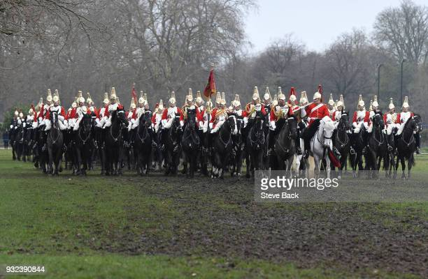 Troops parade during the Major General's Inspection of the Household Cavalry Mounted Regiment in Hyde Park on March 15 2018 in London England The...