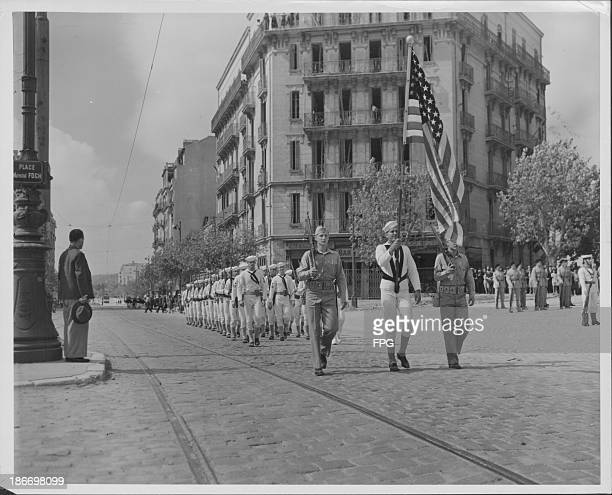 US troops parade through Toulon following the liberation of France during the Second World War October 10th 1944