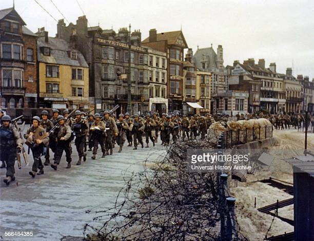 US troops ready to board landing ships at Weymouth England for the D Day Normandy Invasion 1944