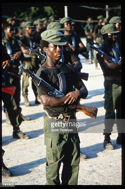 UNITA troops rehearse marches for Armed Forces Day January 23 1990 near Jamba Angola The National Union for the Total Independence of Angola and the...