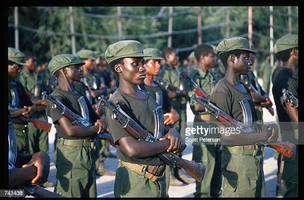 Troops rehearse marching for Armed Forces Day January 23, 1990 near Jamba, Angola. The National Union for the Total Independence of Angola and the...