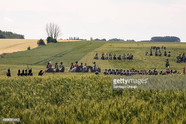 Troops reviving the Waterloo battle
