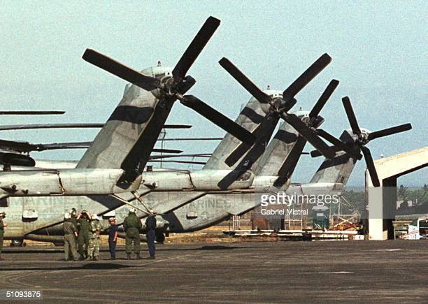 S Troops Stand Near Ch53 Delta Helicopters April 23 2002 At The Philippine Air Force Base In Clark In Angeles City In The Philippines The Troops Will...