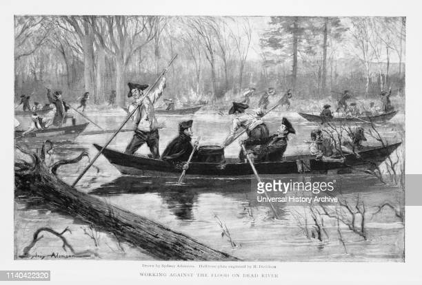 Troops under Command of Benedict Arnold at Skowhegan Falls Maine en Rout to Invasion of Canada 'Working Against the Flood on Dead River' The Century...