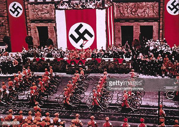 SA Troops with Bicycles Parading before Adolf Hitler at Rally Dortmund Germany 1933