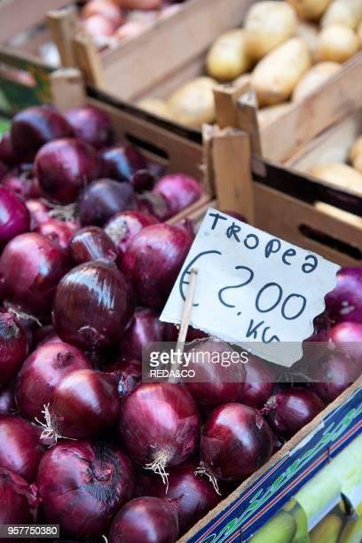 Tropea Onion At Fish Market Called Piscaria Catania Sicily Italy Europe