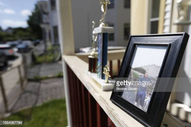 Trophies and a picture of Odin Lloyd were left at 10 Fayston Street where Lloyd resided in Dorchester neighborhood of Boston on June 20, 2013....