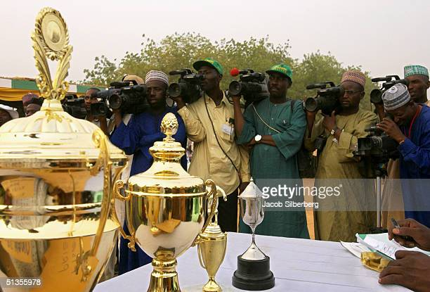 Trophies are on display for the media during the Argungu Fishing Festival on March 19 in Argungu Nigeria The Argungu Fishing Festival was first held...