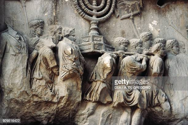 Trophies from Jerusalem relief from the Arch of Titus Imperial Forums Rome Italy Roman civilisation 1st century AD