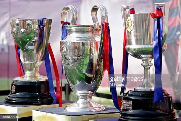 Trophies of FC Barcelona Season 20142015 La Liga Cup Champions League Copa Del Rey during the Joan Gamper Trophy match between Barcelona and AS Roma...