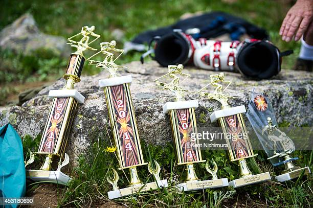 Trophies of the 49th running of the Epworth Cup an unofficial ski race atop Corona Pass are seen before being presented on Sunday July 13 2014 in...