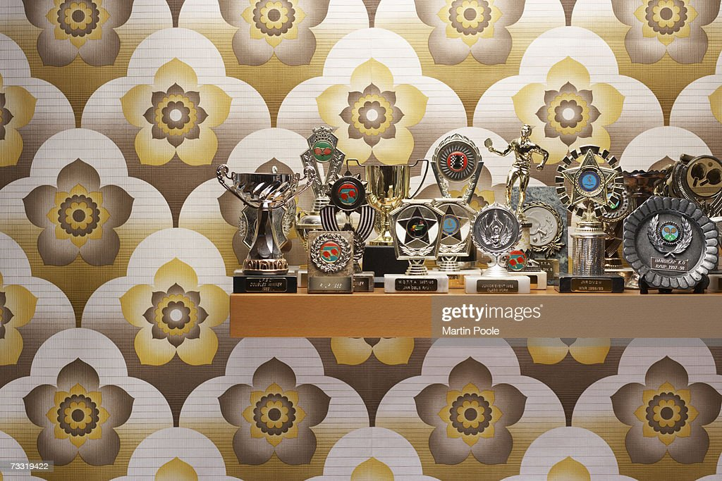 Trophies on a shelf : Stockfoto