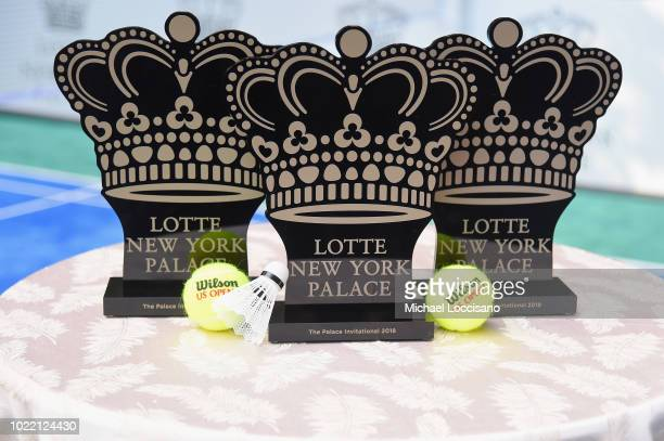 Trophies on display at the 2018 Lotte New York Palace Invitational on August 23 2018 in New York City