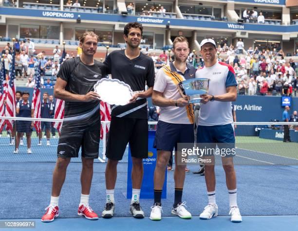 Trophies presentation men's doubles Jack Sock Mike Bryan winners Lukasz Kubot Marcelo Melo runnerups at USTA Billie Jean King National Tennis Center