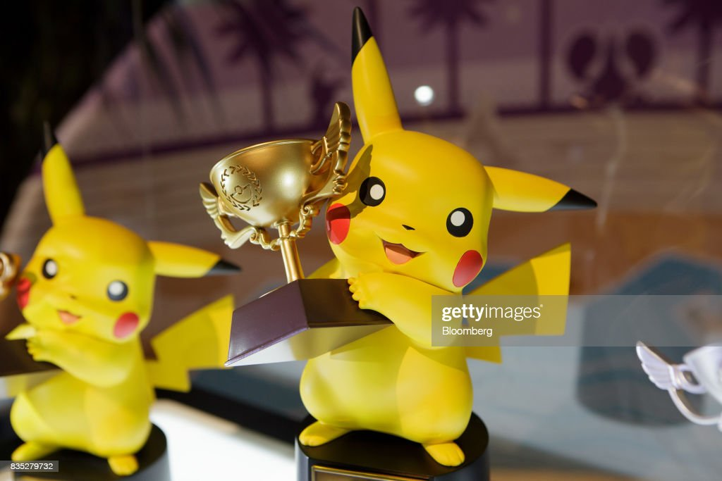 Trophies sit on display during the 2017 Pokmon Co. World Championships in Anaheim, California, U.S., on Friday, Aug. 18, 2017. The invitation-only event brings the best players from around the world to compete for the title of Pokémon TCG, Video Game, or Pokkén Tournament World Champion. Photographer: Troy Harvey/Bloomberg via Getty Images