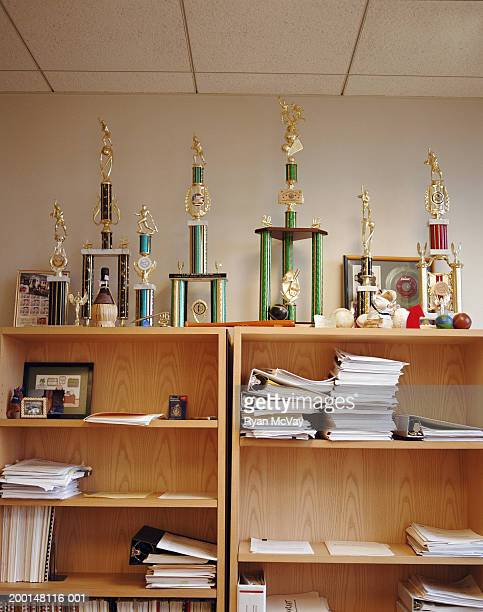 Trophies sitting on shelf in office