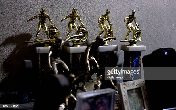 COX'S BAZAR BANGLADESH OCTOBER 23 Trophies that Shahadat Hosen won in surfing competitions are on display in his home on October 23 2013 in Cox's...