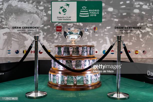 Trophy ahead of the draw ceremony of the Davis Cup tennis finals 2019