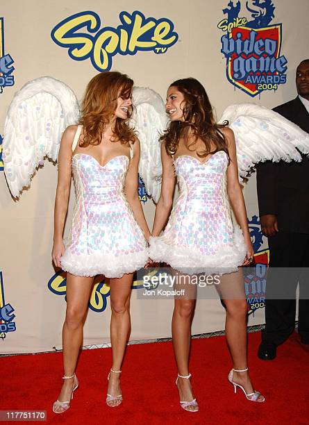 Trophy Angels Lindsay Frimodt and Deanna Miller during Spike TV's 2nd Annual Video Game Awards 2004 Arrivals at Barker Hangar in Santa Monica...