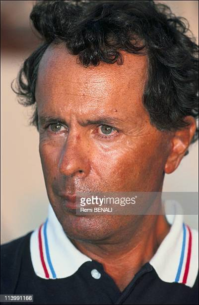 Trophy blue ribbon boat Destriero of Karim Agha Khan In Porto Cervo Italy On September 25 1991Cesare Fiorio captain of the Destriero