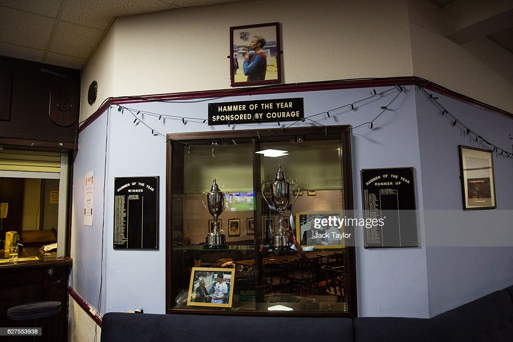 A trophy cabinet is pictured at the Hammer's Social Club in Upton Park on December 3, 2016 in London, England. West Ham United played Arsenal in a Premier League match on December 3, which marks more than six months since the football club moved from their Boleyn Ground stadium in Upton Park to the London Stadium in Stratford. Local businesses are suffering as the former West Ham United ground is being demolished to make way for more than 800 homes.
