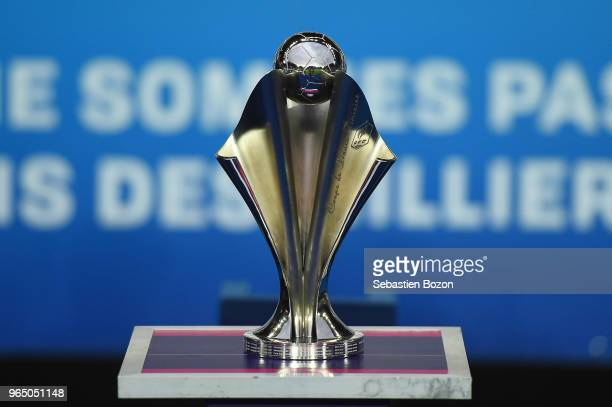 Trophy during the Women's French National Cup Final match between Paris Saint Germain and Lyon at La Meinau Stadium on May 31, 2018 in Strasbourg,...