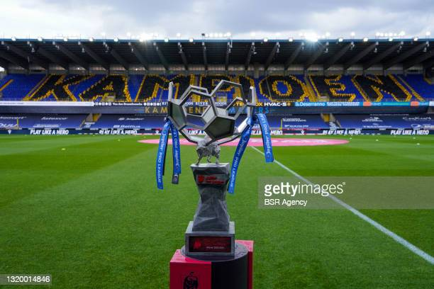 Trophy for winning the Jupiler Pro League at Jan Breydelstadion, home of Club Brugge during the jupiler pro league match between Club Brugge and KRC...