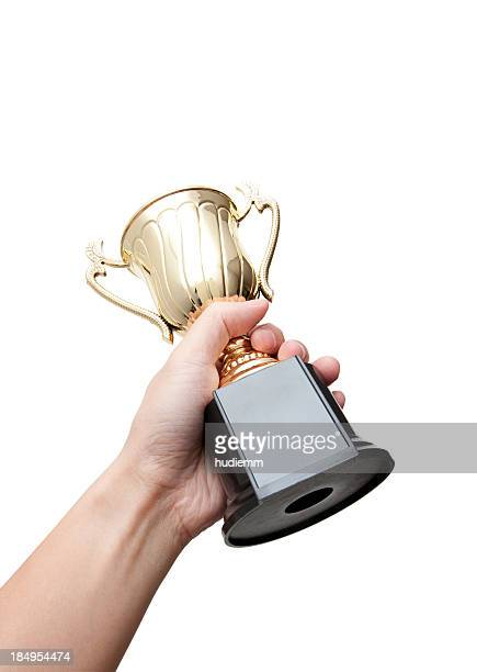 Trophy in Hand (Clipping Path!) isolated on white background