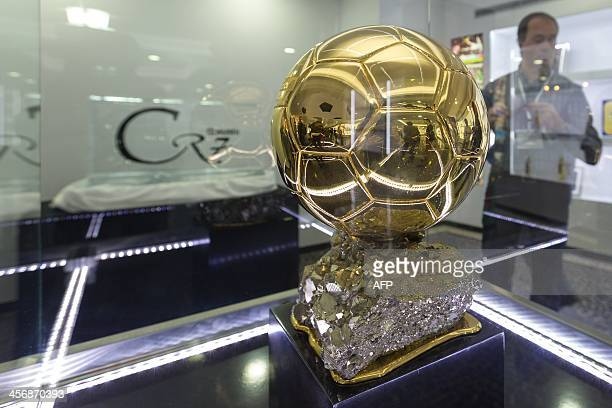 A trophy is displayed during a the inauguration of the CR7 museum dedicated to the professional career of Portugese footballer and current country...