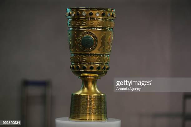 Trophy of German Cup is displayed during a press conference ahead of the German Cup final match between FC Bayern Munich and Eintracht Frankfurt at...
