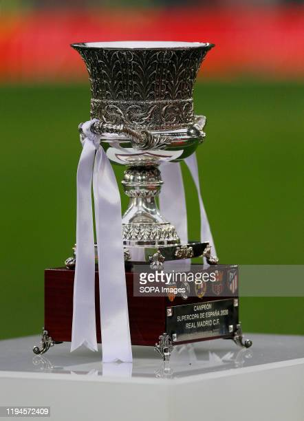 Trophy of Supercup seen during the Spanish La Liga match round 20 between Real Madrid and Granada CF at Santiago Bernabeu Stadium in Madrid. Final...
