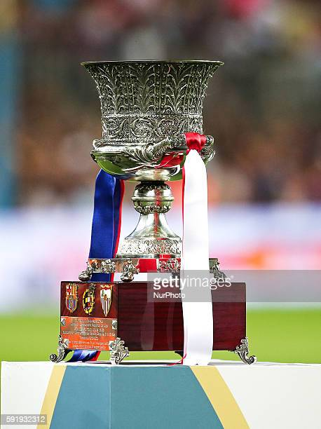 Trophy of the spanish Supercup played at the Camp Nou Stadium on August 17 2016