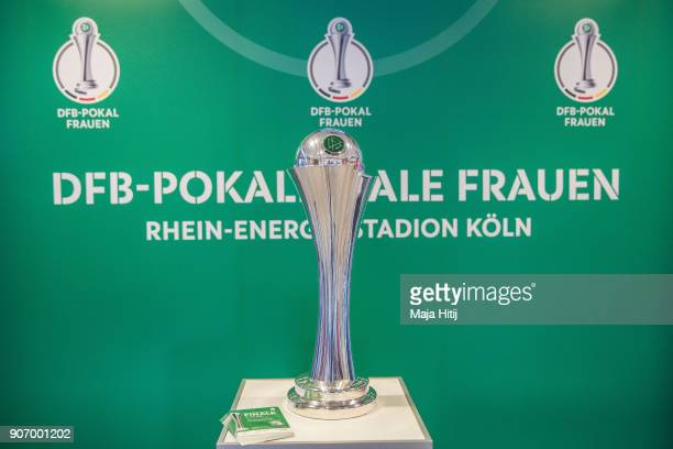 Trophy of the Women's DFB Cup Final 2017 is seen on January 19 2018 in Cologne Germany