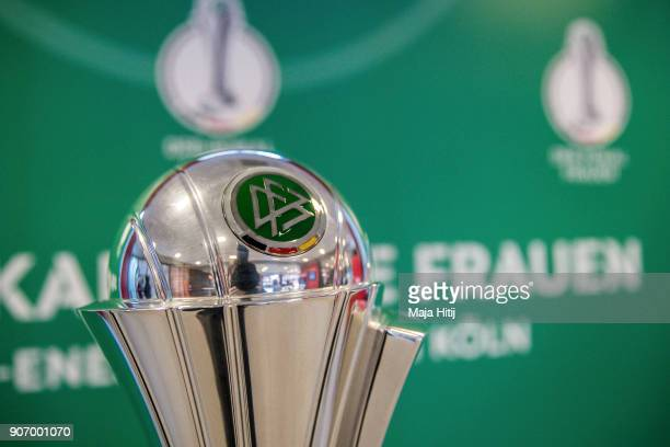 Trophy of the Women's DFB Cup Final is seen on January 19 2018 in Cologne Germany