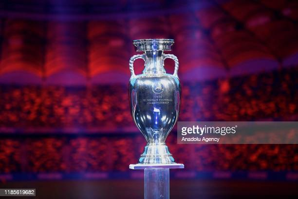 Trophy pictured during the finals draw in Bucharest Romania on November 30 2019 Turkey will face Italy Switzerland and Wales in Group A in UEFA EURO...