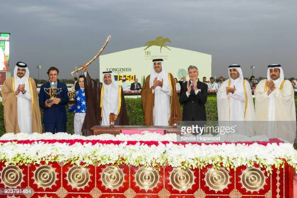 Trophy Presentation with after Gazwan under Cristian Demuro wins the 2400m Group 1 HHThe Emir's Sword race for Purebred Arabians at Al Rayyan...