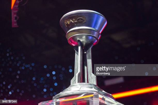 A trophy stands on stage ahead of the grand final game during the Halo World Championship finals in Seattle Washington US on Sunday April 15 2018...