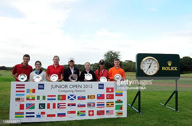 Trophy winners Roberts Biss of Latvia Sofia Goicoechea of Argentina Jessica Dreesbeimdieke of Namibia Asuka Kashiwabara of Japan Puk Lyng Thomsen of...
