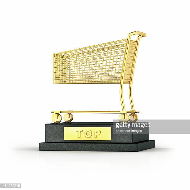 trophy with a golden shopping cart on white - trophy stock pictures, royalty-free photos & images