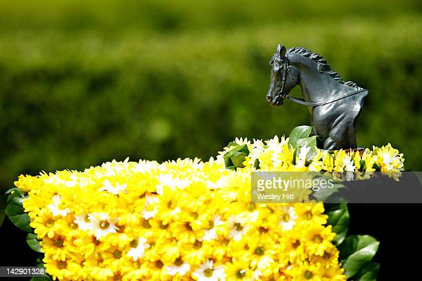 Trophy with flowers in the infield at Oaklawn Park during the Racing Festival of The South on April 14 2012 in Hot Springs Arkansas