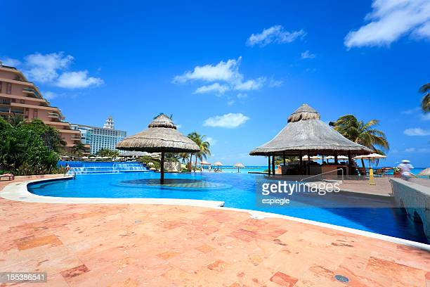 tropic luxury hotel poolside - tourist resort stock pictures, royalty-free photos & images