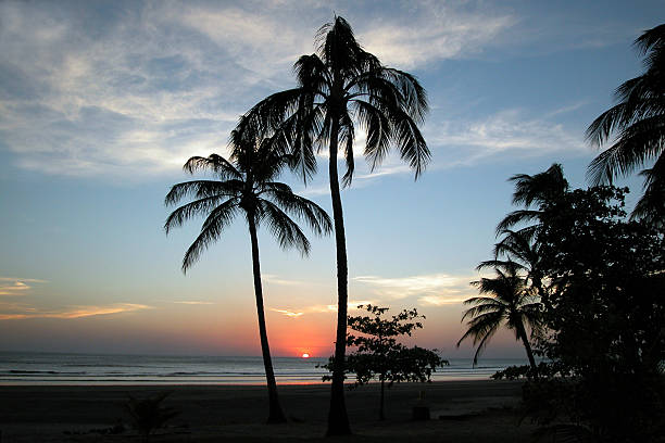 Tropical Beach and Palm Trees Sunset, Montelimar, Nicaragua